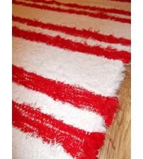 Bolyhos rongyszőnyeg fehér, piros 85 x 180 cm