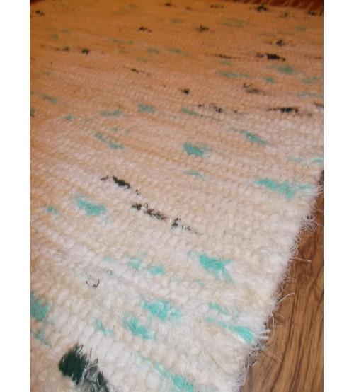 Bolyhos rongyszőnyeg nyers, fehér, zöld 75 x 100 cm