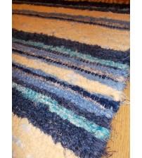 Bolyhos rongyszőnyeg nyers, kék 75 x 100 cm