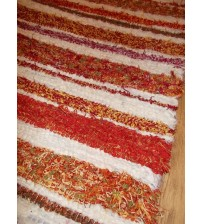 2 db bolyhos rongyszőnyeg nyers, bordó, piros, sárga 65 x 150 cm