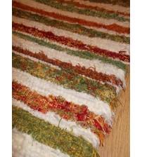 Bolyhos rongyszőnyeg nyers, zöld, piros, sárga 65 x 130 cm