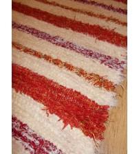 Bolyhos rongyszőnyeg nyers, bordó, piros, sárga 65 x 200 cm