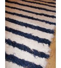 Bolyhos rongyszőnyeg fehér, kék 65 x 125 cm