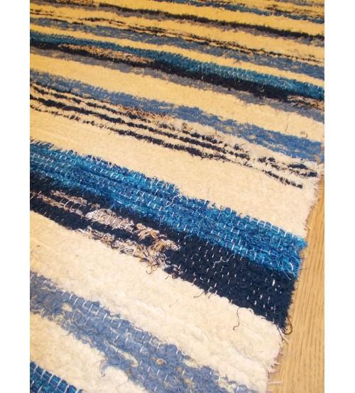 Bolyhos rongyszőnyeg nyers, kék 75 x 200 cm