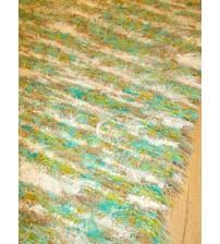 Bolyhos rongyszőnyeg zöld, fehér, barna 60 x 150 cm