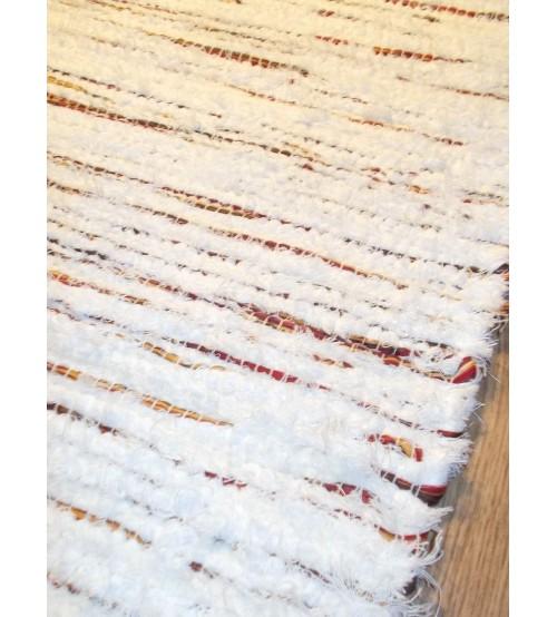 Bolyhos rongyszőnyeg fehér, bordó 75 x 150 cm