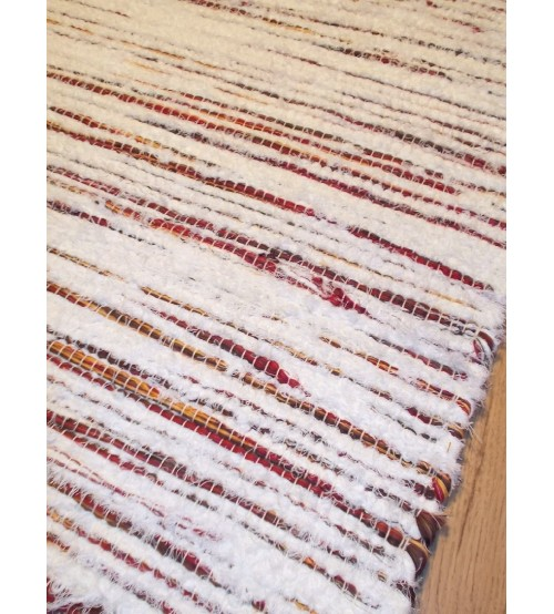 Bolyhos rongyszőnyeg fehér, bordó 75 x 100 cm