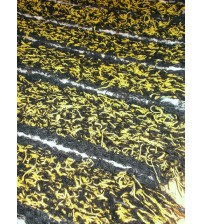 Bolyhos rongyszőnyeg fekete, sárga 60 x 95 cm