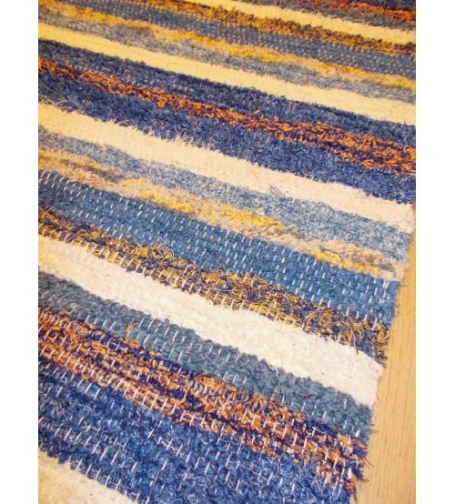 Bolyhos rongyszőnyeg kék, barna 75 x 100 cm
