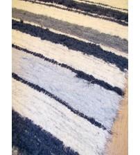 Bolyhos rongyszőnyeg nyers, kék 75 x 150 cm