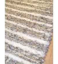Bolyhos rongyszőnyeg fehér, barna, lila 65 x 105 cm