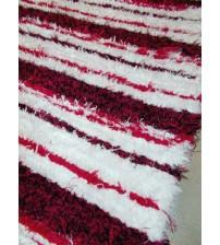 Bolyhos rongyszőnyeg piros, fehér 75 x 110 cm