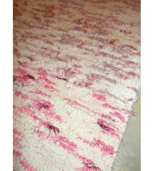 Bolyhos rongyszőnyeg nyers, rózsaszín 70 x 145 cm
