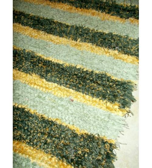 Bolyhos rongyszőnyeg zöld, sárga 70 x 100 cm