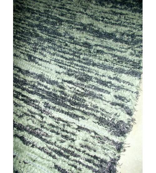 Bolyhos rongyszőnyeg zöld, szürke 75 x 150 cm