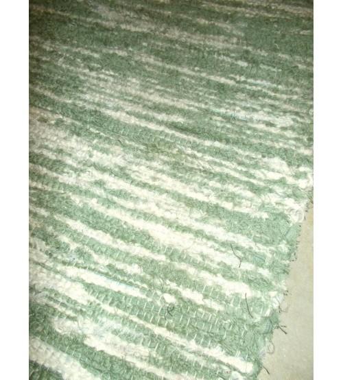 Bolyhos rongyszőnyeg zöld, nyers 75 x 140 cm
