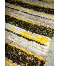 Bolyhos rongyszőnyeg barna, sárga, nyers 75 x 150 cm