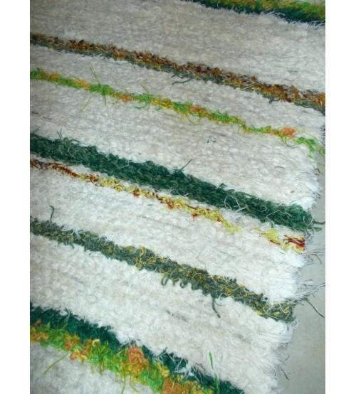 Bolyhos rongyszőnyeg nyers, zöld, barna 55 x 100 cm