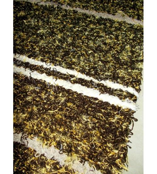 Bolyhos rongyszőnyeg  barna, sárga, nyers, 55 x 150 cm