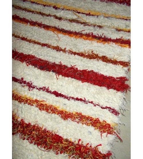 Bolyhos rongyszőnyeg  nyers, piros, sárga  55 x 150 cm