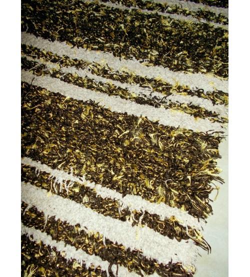 Bolyhos rongyszőnyeg  barna, sárga, nyers  55 x 200 cm