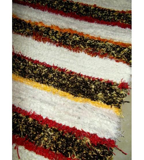 Bolyhos rongyszőnyeg  nyers, barna, piros  55 x 200 cm