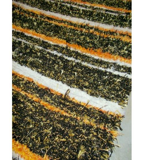 Bolyhos rongyszőnyeg  barna, sárga 75 x 150 cm
