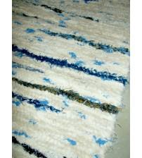 Bolyhos rongyszőnyeg nyers, kék 80 x 150 cm
