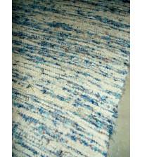 Bolyhos rongyszőnyeg nyers, kék 70 x 140 cm