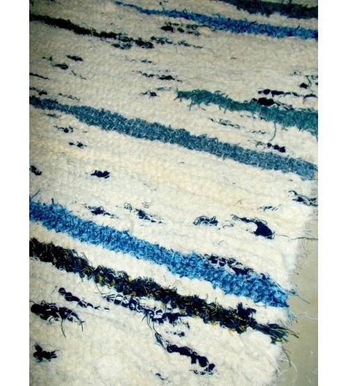 Bolyhos rongyszőnyeg nyers, kék 75 x 170 cm