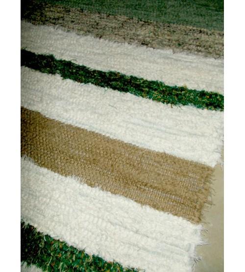 Bolyhos rongyszőnyeg zöld, nyers, barna 75 x 100 cm