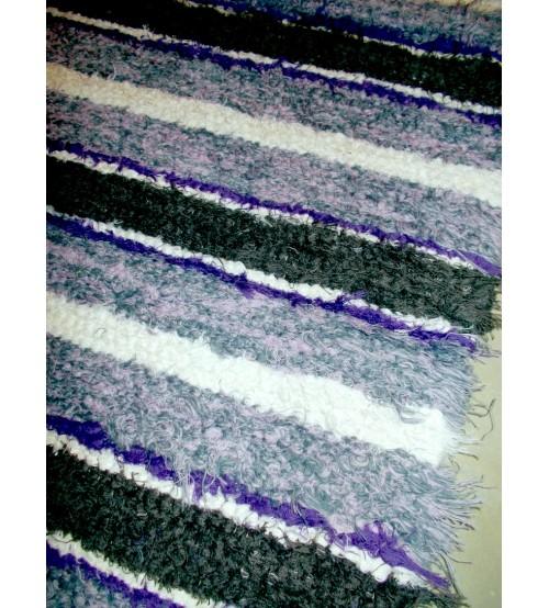 Bolyhos rongyszőnyeg lila 75 x 110 cm