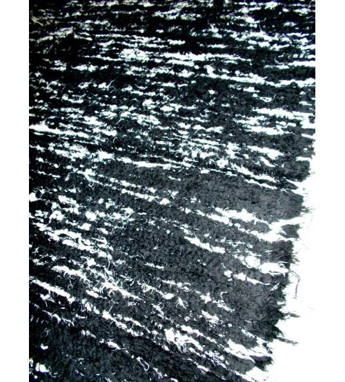 Bolyhos rongyszőnyeg fekete, fehér 75 x 100 cm