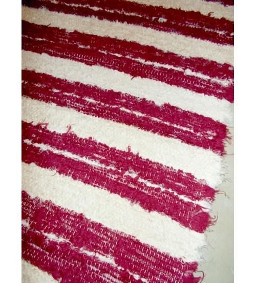 Bolyhos rongyszőnyeg bordó, nyers 70 x 95 cm