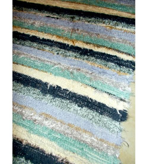 Bolyhos rongyszőnyeg zöld, kék, nyers 70 x 100 cm