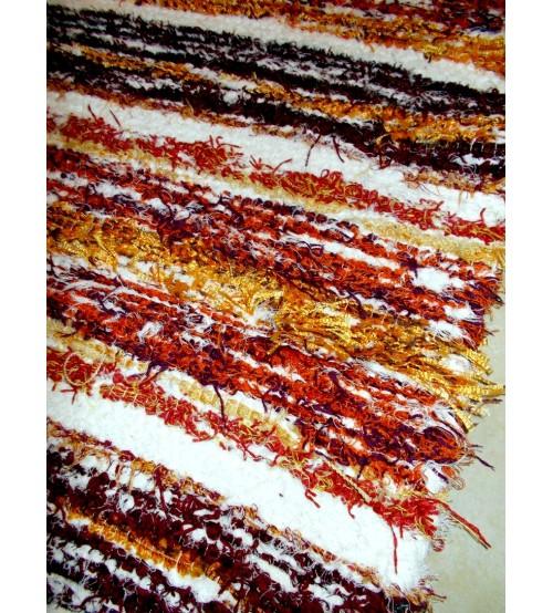 Bolyhos rongyszőnyeg piros, fehér, bordó 75 x 100 cm