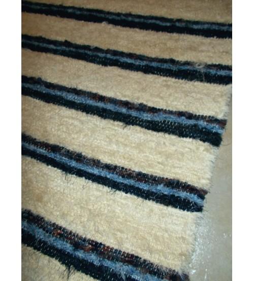Bolyhos rongyszőnyeg nyers, kék 80 x 180 cm
