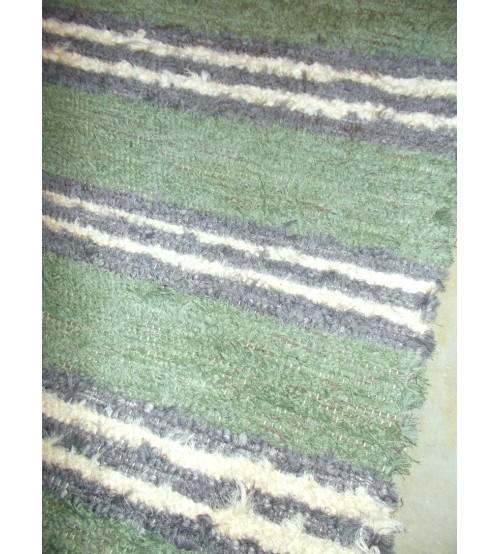 Bolyhos rongyszőnyeg zöld, szürke, nyers 70 x 200 cm