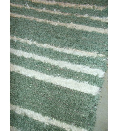 Bolyhos rongyszőnyeg zöld, nyers 75 x 170 cm