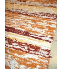 Bolyhos rongyszőnyeg sárga, bordó, fehér 75 x 150 cm