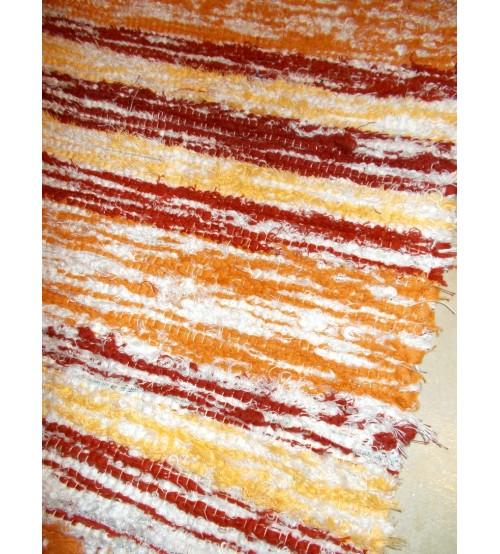 Bolyhos rongyszőnyeg sárga, bordó, fehér 75 x 100 cm