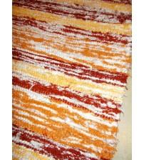 Bolyhos rongyszőnyeg sárga, bordó, fehér 75 x 200 cm